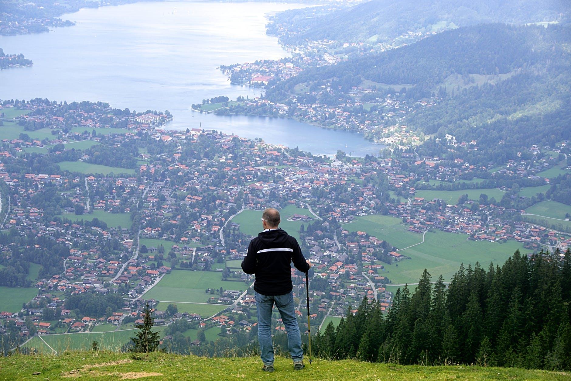 man person mountain hiker